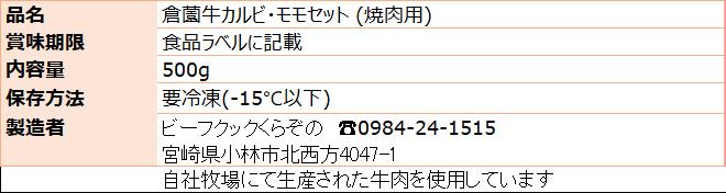 倉薗牛焼肉セット 原材料表示