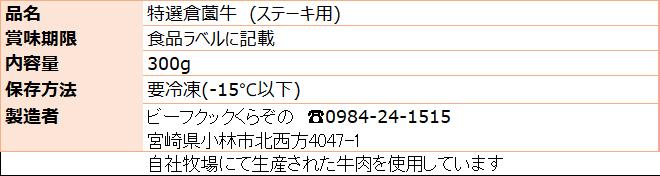 倉薗牛ヒレステーキ 原材料表示