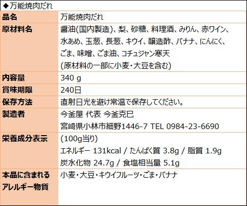 万能焼肉だれ(食品表示)