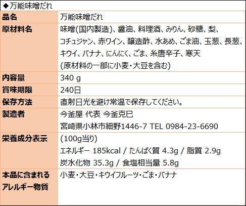 万能味噌だれ(食品表示)