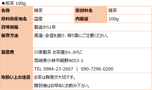 川原製茶(食品表示)