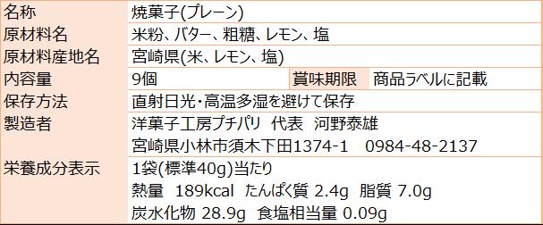 お米のワッフルクッキープレーン(食品表示)