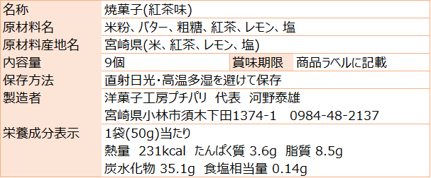 お米のワッフルクッキー紅茶(食品表示)