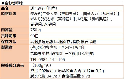 合わせ味噌(食品表示)