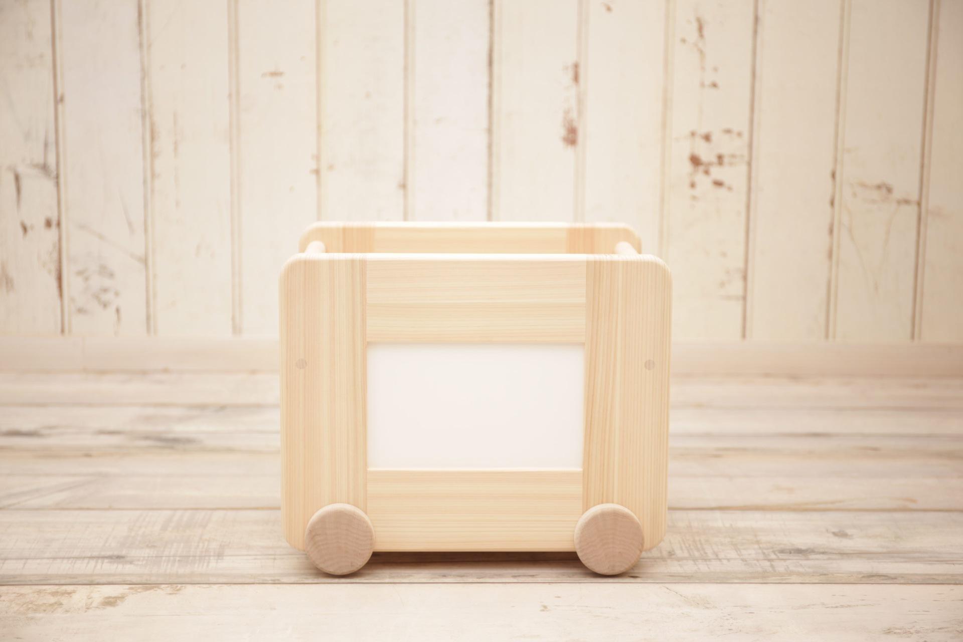 川﨑クラフト株式会社 国産ひのきのコロコロおもちゃ箱 (ホワイト)