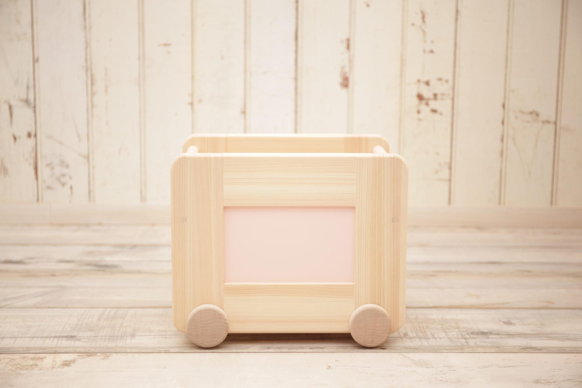 川﨑クラフト株式会社 国産ひのきのコロコロおもちゃ箱 <<カラータイプ/ピンク>>
